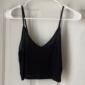 Urban Outfitters Black Cropped Tank-SMALL
